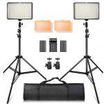 Kit de luz de Video SAMTIAN 160 LED con trípode de 2M, Soporte de Panel de luz de Foto 3200 / 5500K para fotografía de Estudio de Youtube, Incluidas Las baterías, Cargador, Estuche de Transporte 11