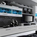 SelectionHome - Mueble salón Comedor Moderno con Leds, Acabado en Blanco Mate y Blanco Brillo Lacado, Medidas: 250x194x42 cm de Fondo 12