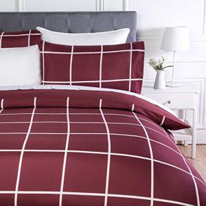 AmazonBasics - Juego de ropa de cama con funda de edredón, de microfibra, 260 x 220 cm,   Burdeos a cuadros (Burgundy Simple Plaid) 8