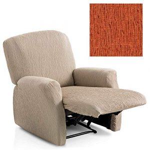 Jarrous Funda de Sillón Relax Completo Elástica Modelo Arucas, Color Naranja-7, Medida 60-80cm Respaldo 3