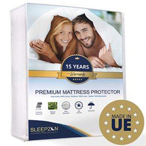 SLEEPZEN Protector de Colchón Impermeable 200x200cm, Muletón 100%, Cubre Colchón Anti-ácaros, Antibacteriano, Antimoho, hipoalergénico - Hecho en Europa - 15 años de garantía 3