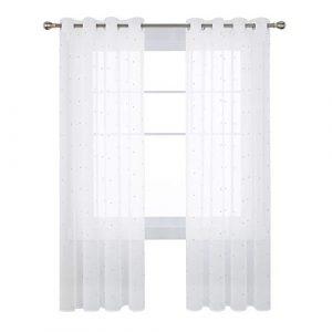 Deconovo Visillos para Ventanas Dormitorio Cortina Translúsida Salón con Ojales 1 Pieza 140 x 280 cm Azul Lunares 10