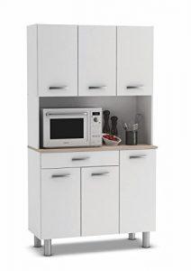 Armario alacena buffe aparador de Cocina con 6 Puertas. Blanco y Roble. para Almacenamiento de menaje. 5