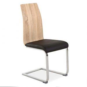 DISTRIGAL.SL HomeSouth - Pack 4 sillas de Comedor, Silla de salón o Cocina, Acabado en símil Piel Color Negro y Madera, Modelo Sensei, Medidas: 44 cm (Ancho) x 57 cm (Fondo) x 97 cm (Alto) 2