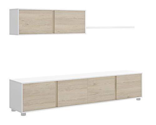 <ul><li>Mueble de salón de 200 cm de ancho. Estructura en blanco y puertas en color natural. Las patas son en color metálico. Las puertas del mueble de salón son abatibles y no tienen tirador. Fabricado en 16 mm de grosor y sobres en 30 mm. Salón de 200 cm de ancho y 41 cm de fondo. Fácil montaje.</li><li>Medidas: Ancho: 200 cm x Fondo: 39 cm x Alto:41 cm.</li><li>Acabados: Blanco brillo en armazón y Natural en frentes.</li><li>Materiales: Melamina de gran calidad de entre 16 y 30 mm.</li><li>----> ENVÍO GRATUITO A PIE DE CALLE <----</li></ul>