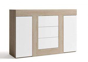 FabriKit 15034TR - Aparador buffet tres cajones y 2 puertas, mueble auxiliar salon color Blanco y Sable, medidas: 140x92x39,6 cm de fondo 8
