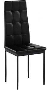 Albatros Silla Rimini, Set de 6 sillas, Negro, certificada por la SGS, Silla de Comedor 1