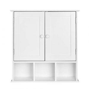 Homfa Armario de Pared Armario para Cocina Baño con 2 Puertas 5 Compartimentos Blanco 56x13x58cm 2