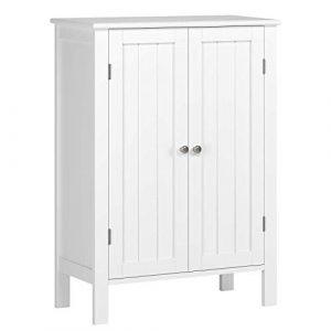 Homfa Armario Almacenaje Armario de Suelo para Cocina Salón Baño Dormitorio con 2 Puertas 2 Estantes Blanco 58x28x80cm 2