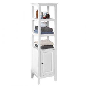 SoBuy® Mueble Columna de baño, Armario para baño - 3 estantes y 1 Puerta, FRG205-W, ES(Blanco) 4