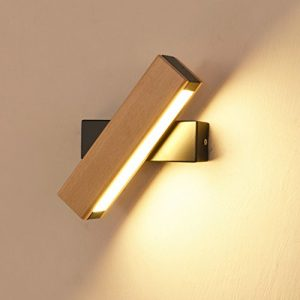 LED Apliques Interior giratorio Multi de modelo iluminación de pared aluminio Madera Madera Color lámpara de pared Cama Decorativa, hierro, Holzfarbe, 21 cm, None 4.00watts 220.00volts 3