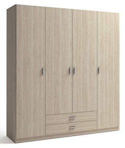 Miroytengo Armario ropero Dormitorio Color Sable Efecto Madera 4 Puertas 2 cajones 216x200x53 cm 3