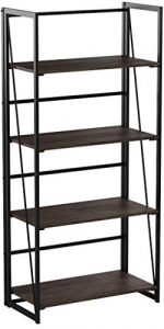 Coavas Estantería Librería Organizador Plegable de Metal Efecto Madera Diseño Industrial para Almacenamiento (125cm x 60cm x 30 cm) 9