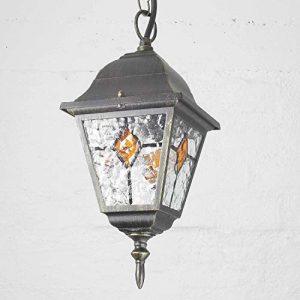 Colgante rústico aplique de exterior en oro envejecido con cristal en óptica Tiffany con colgante de cadena E27 230V lámpara de exterior lámpara colgante lámpara colgante lámpara de techo 1