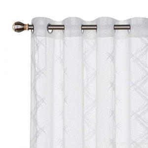 Deconovo Visillo Lino Efecto para Ventana Cortina Transparente de Habitación 2 Paneles 140 x 138 cm Blanco 4