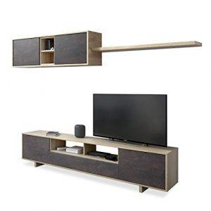 Habitdesign Mueble de Comedor Moderno, Modelo Belus, Medidas: 200 cm (Ancho) x 41 cm (Fondo) x 46 cm (Alto), Roble Canadian y oxido 10