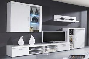 SelectionHome - Mueble Comedor, Salon Moderno con Leds, Acabado en Blanco Brillo Lacado y Blanco Mate, Medidas: 290x200x45 cm de Fondo 8