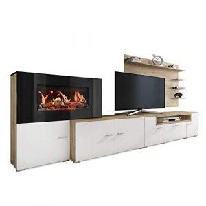 SelectionHome - Mueble salón Comedor con Chimenea eléctrica, Medidas: 290 x 170 x 45 cm de Fondo (Blanco Mate - Roble Claro Cepillado) 10