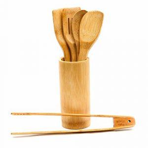 Juego de accesorios de cocina formado por 5 utensilios de bambú con su correspondiente soporte (2 espumaderas, 2 cucharones, pinzas para barbacoa) 9