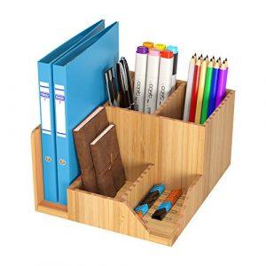 HOMFA Organizador de Escritorio Almacenamiento de Escritorio Organizador para lápices plumas con 7 compartimientos de Bambú 21.5x18.5x12cm 8