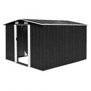 tidyard Caseta de Jardín Exterior con 4 Ventilación para Almacenamiento de Herramientas de A Prueba de Polvo y Resistente a la Intemperie de Acero Galvanizado 257x298x178 cm Antracita 1