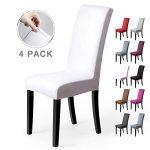 Fundas para sillas Pack de 4 Fundas sillas Comedor Fundas elásticas, Cubiertas para sillas,bielástico Extraíble Funda, Muy fácil de Limpiar, Duradera (Paquete de 4, Blanco) 14
