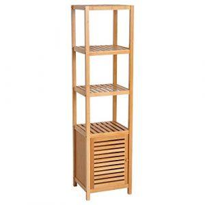 HOMCOM Estantería Bambú para Baño Armario Alto Librería Organizador 4 Niveles 1 Puerta 36x33x140cm 2