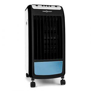 Oneconcept Caribbean Blue 2019 Edition - Enfriador, Ventilador, Climatizador, Humidificador, Portátil, 3 velocidades, Potencia 70 W, Capacidad 4L, Ruedas integradas, Negro y Azul 4