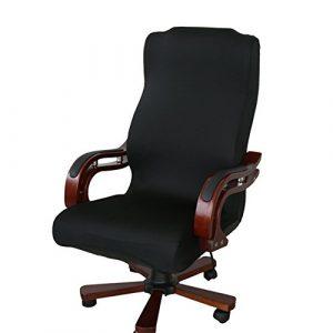 Funda para silla de escritorio de Zyurong, extraíble, lavable, protección para tu silla de oficina, giratoria y de escritorio, tamaño S (solo incluye la funda), negro, Large 8