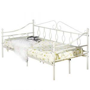 Aingoo Cama de día con somier de láminas para Sala de Estar balcón Banco de jardín (Crema, 90_x_190_cm) 4