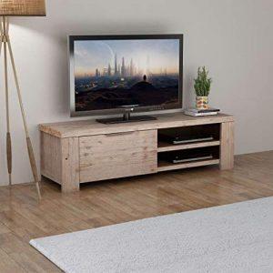 Tidyard Mesa para TV con 4 Ruedas Mueble TV Salón Mesa Televisión Mueble Comedor con 2 Prácticas Salidas para Cables de Estilo Rústico 140x38x40cm 5