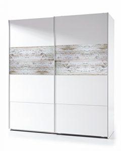 Habitdesign ARC181BO - Armario corredera Vintage, Acabado Blanco Brillo y Decapé, Medidas: 180x200x61 cm de Fondo 6