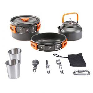 Aitsite Camping Cookware Kit Outdoor Aluminum Lightweight Camping Pot Pan Cooking Set for Camping Hiking 1