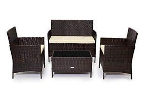 Evre Home & - Conjunto de muebles de jardín de ratán para interiores y exteriores, 4 piezas, sofá, mesa, marrón 10