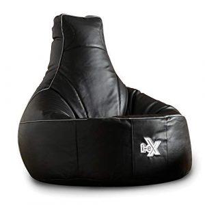 i-eX Puf para Videojuegos, Negro, 91cm x 88cm, Grande, Cuero sintético, Reclinable ergonómico para Videojuegos, Silla para Videojuegos 7