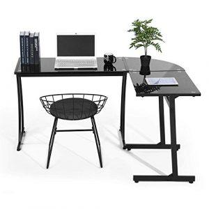 Coavas Escritorio en L Mesa de Ordenador Esquinero para Despacho Habitación Juvenil o Estudio para Hogar u Oficina Esquinero Color Negro (Cristal Negro) 3