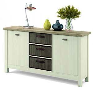 Mueble aparador Artik en colores cambrian y pino con 3 cestas de bambú integradas con 86 cm de alto, 160 cm de ancho y 41 cm de fondo 6