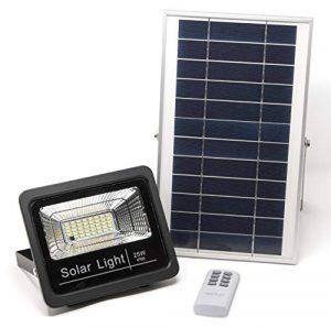 Luz Solar LED Exterior Mando a Distancia 25W, Foco Solar Luz Cálida 2700K, Lámpara Solar Hasta 15 HORAS de Luz, Iluminación Solar 1000 LM, Aplique Solar 40 LEDS 4