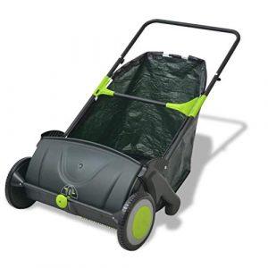 Tidyard Barredora de Jardín para Hierba Hojas y Ramas Pequeñas Ajustar Manualmente Nivel 112x66x78cm Negro y Verde 103L 1