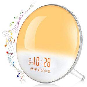 Te-Rich 2019 Wake Up Light Luz Despertador Simulación del Amanecer y Anochecer Luz LED con 2 Alarmas y 7 Sonidos Naturales,Radio FM Digital,7 colores claros,20 Niveles de Brillo 1