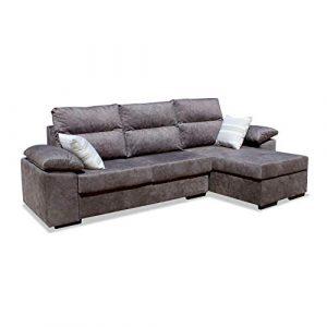 Muebles Baratos Sofa con Chaise Longue, 3 plazas, Subida A Domicilio, Color marrón, ref-107 1