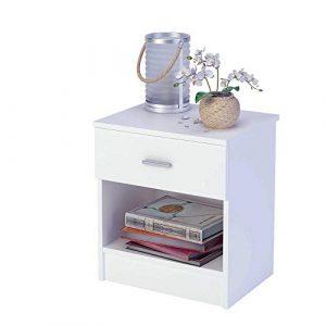 Mesita de noche de melamina con cajón (varios colores) de 44 cm de ancho, Samblo Nami, color blanco, madera contrachapada 8