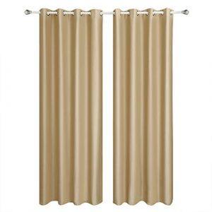 SONGMICS Cortinas 2 Piezas Blackout Curtain Opaca con Ojales 145 x 245 cm Color Champán LRB245E-2 3