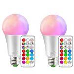 iLC Bombillas Colores RGBW LED Bombilla Regulable Cambio de Color 10W E27 Edison - RGB 12 Color - Control remoto Incluido (Pack de 2) 11