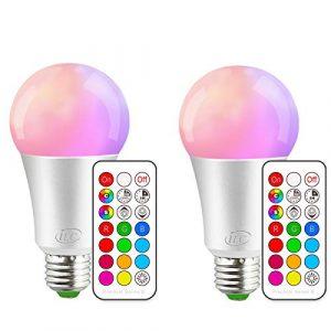 iLC Bombillas Colores RGBW LED Bombilla Regulable Cambio de Color 10W E27 Edison - RGB 12 Color - Control remoto Incluido (Pack de 2) 9