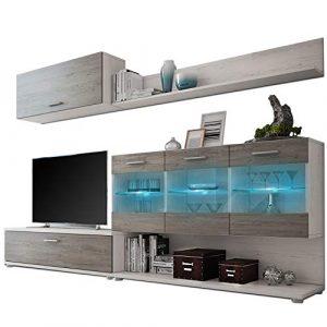 HomeSouth - Mueble de Comedor, modulo Salon Vitrina con Led, Modelo Zafiro, Acabado Color Andersen Pino y Gris, Medidas: 250 x 36,9 cm de Fondo 6