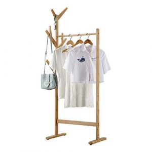 LANGRIA Perchero Burro de Bambú Colgador de Ropa de 8-Ganchos Tipo Árbol con Pies Ajustables para Chaquetas Abrigos largos Vestidos Paraguas Sombreros (1 Barra, Color Bambú Natural) 3