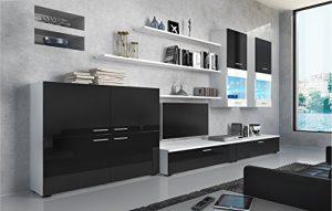 SelectionHome - Mueble Comedor Moderno, salón con Luces Leds, Acabado en Negro Brillo Lacado y Blanco Mate, Medidas: 300 x 189 x 42 cm de Fondo 3