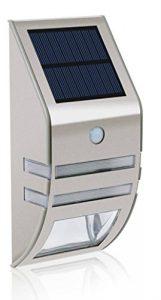 solar LED Lámpara,carcasa de acero inoxidable - plata(Luz Blanca) movimiento exterior resistente al agua jardín lámpara de pared para casa, cerca,garaje,cobertizo,escaleras,Jardín Decoración etc. 9