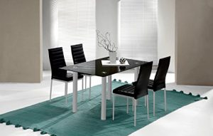 Mesa fija para comedor o salon de cristal templado color negro y patas color gris 140cm 5